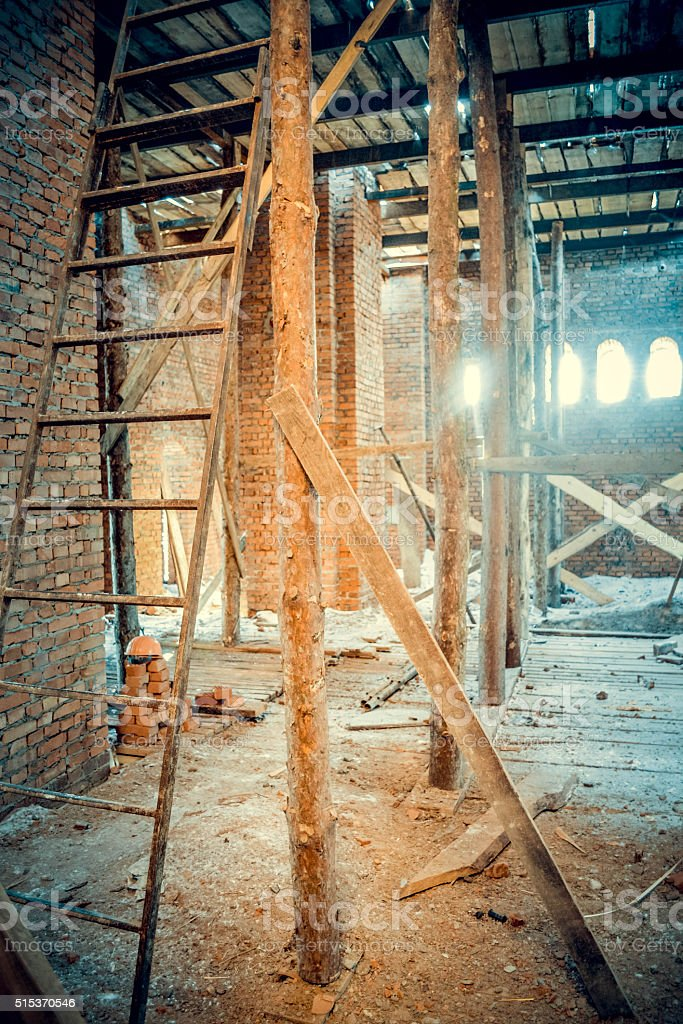 wooden scaffolding on a building site stock photo