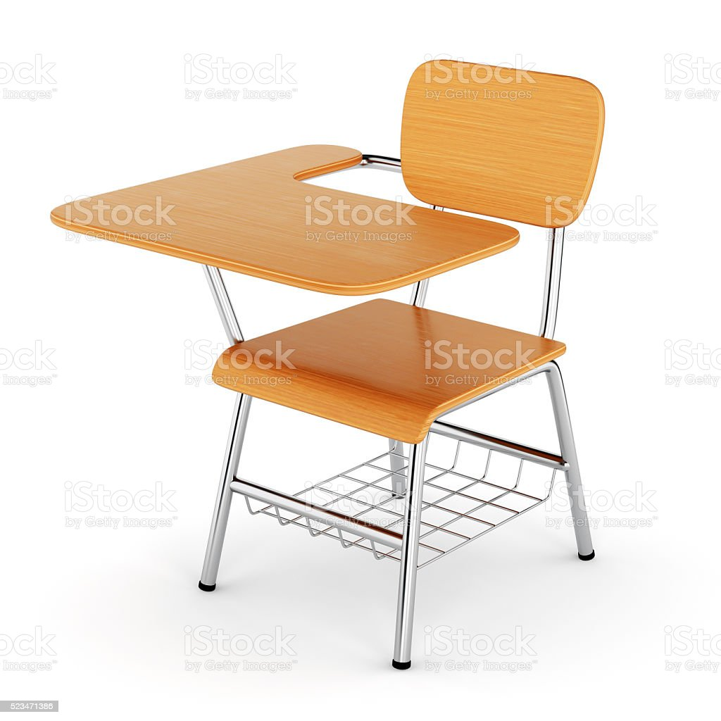 Wooden school desk stock photo