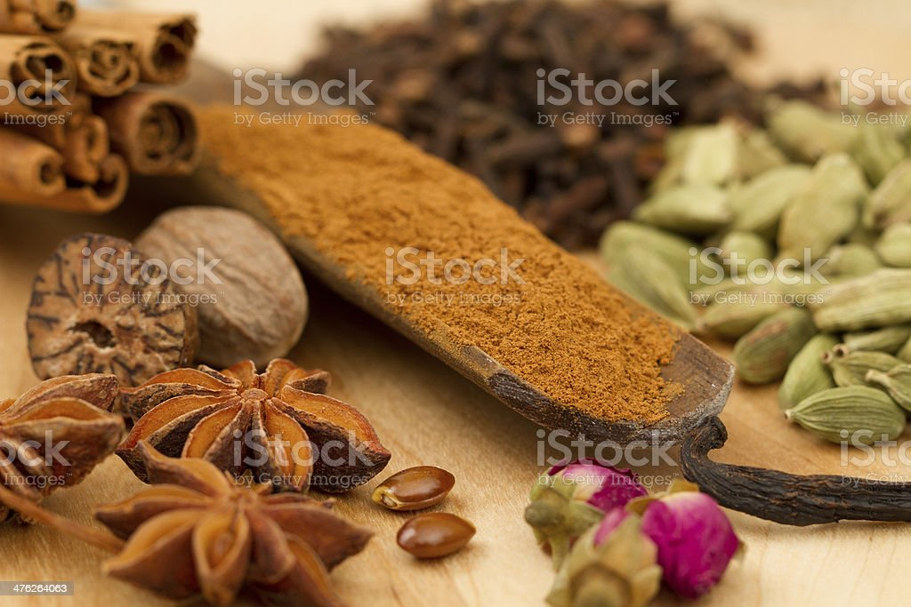Wooden scoop of ground cinnamon surrounded with various spices royalty-free stock photo