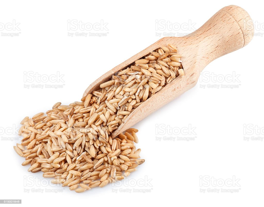 wooden scoop with oat grains isolated on white background stock photo