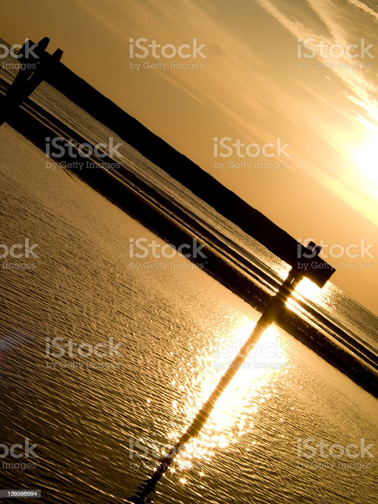 Wooden Sea Sunset royalty-free stock photo
