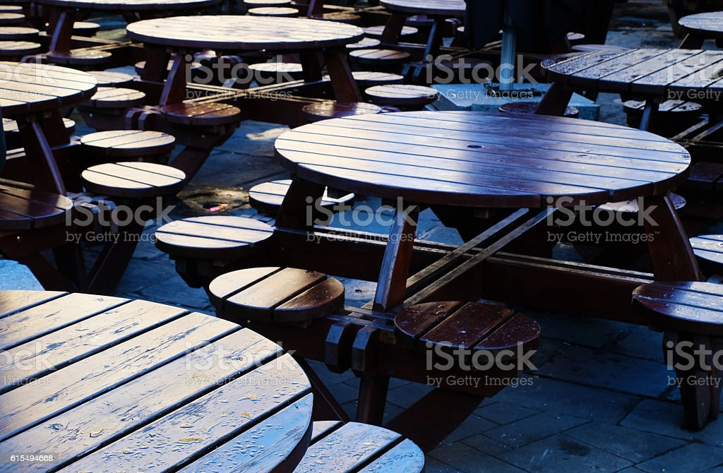 Wooden Seats and Tables stock photo