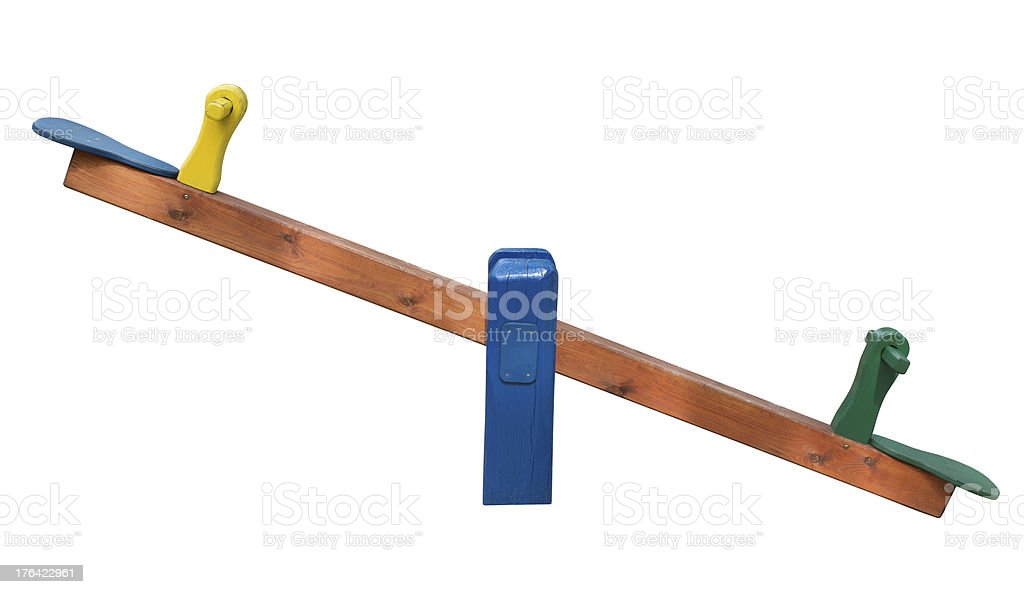 Wooden Seesaw stock photo