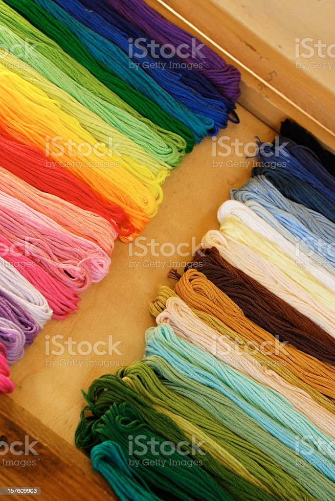 Wooden sewing box with  embroidery yarn stock photo