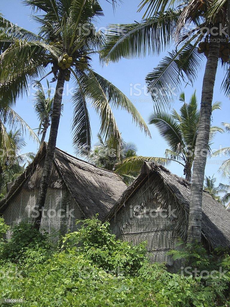 Wooden shacks in Nusa Lembongan, Indonesia royalty-free stock photo