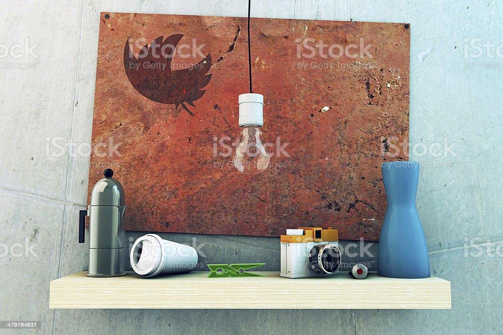 wooden shelf stock photo