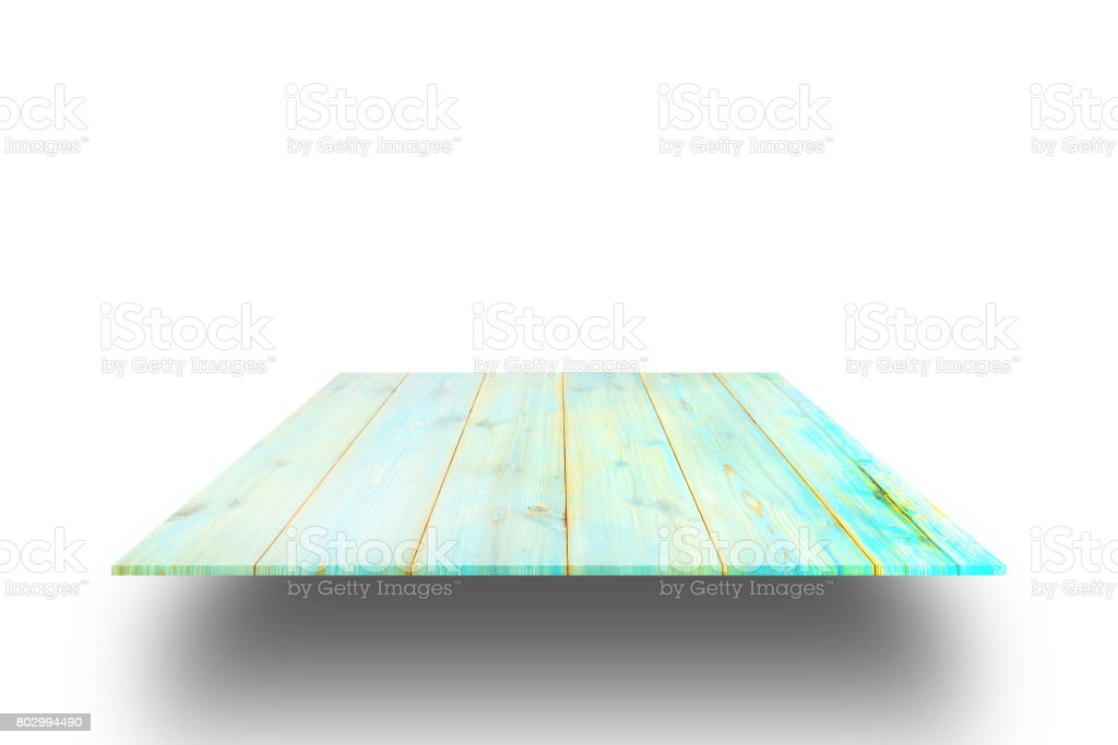 wooden shelve isolated against a white background for montage display product, clipping path. stock photo