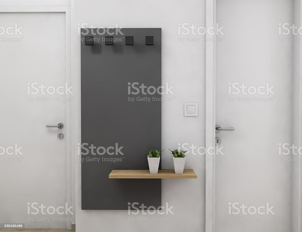 Wooden shelve on a grey panel stock photo