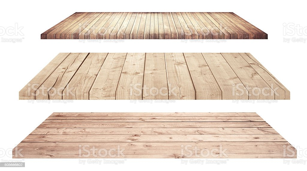 Wooden shelves or tabletop isolated on white stock photo
