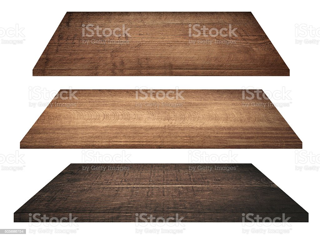 Wooden shelves, tabletop or cutting board isolated on white stock photo
