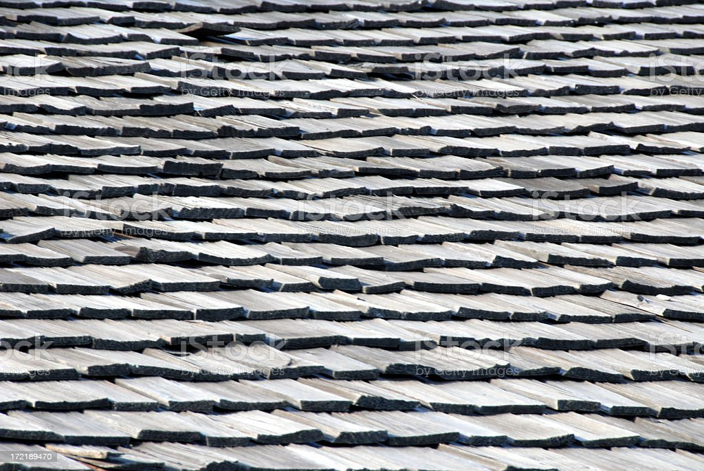 Wooden Shingle Roof Background royalty-free stock photo