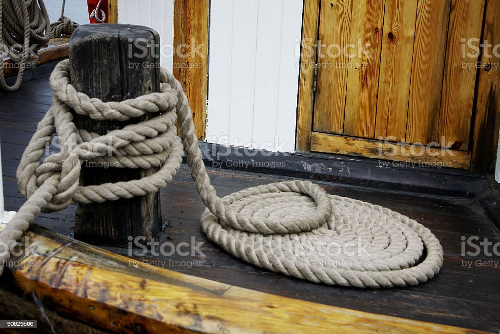 Wooden Ship Deck Rope royalty-free stock photo