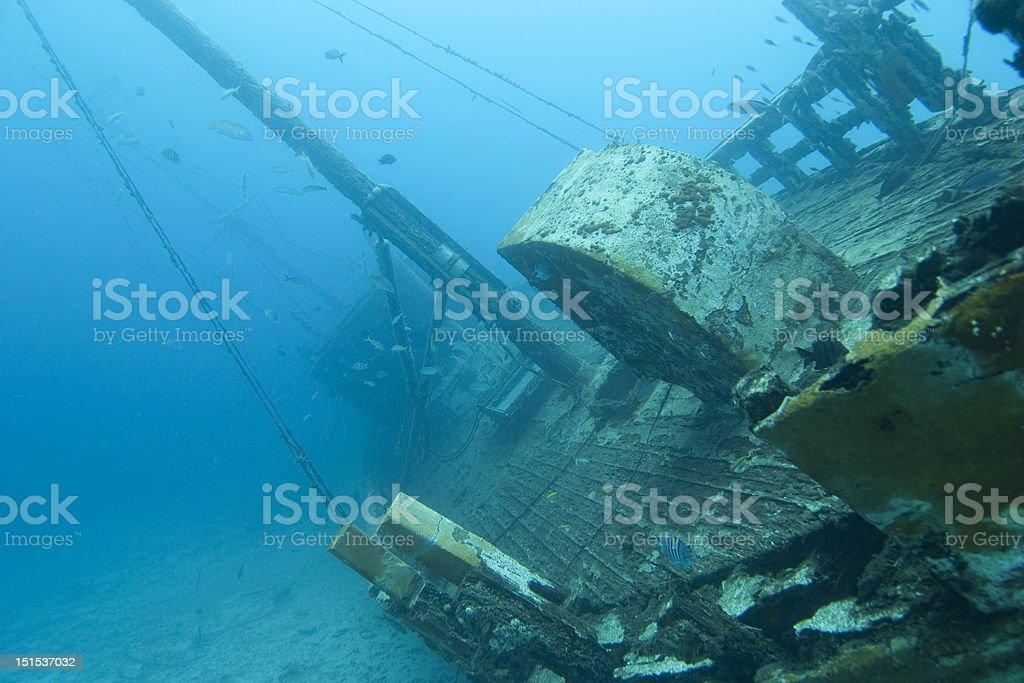 Wooden shipwreck, Bonaire stock photo