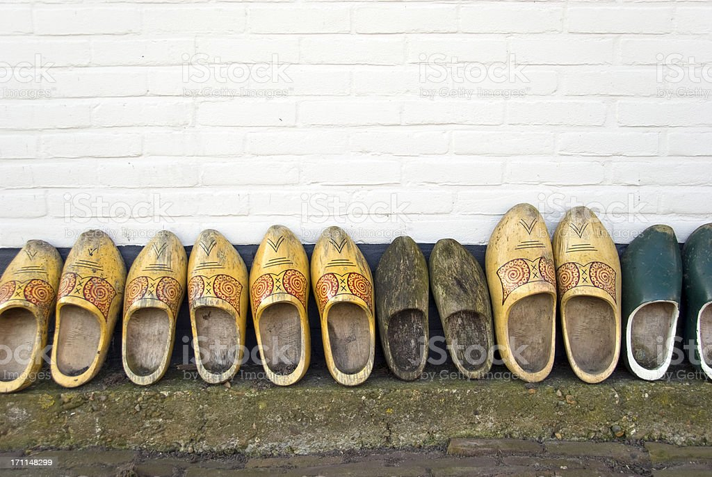 Wooden Shoes in a Row stock photo