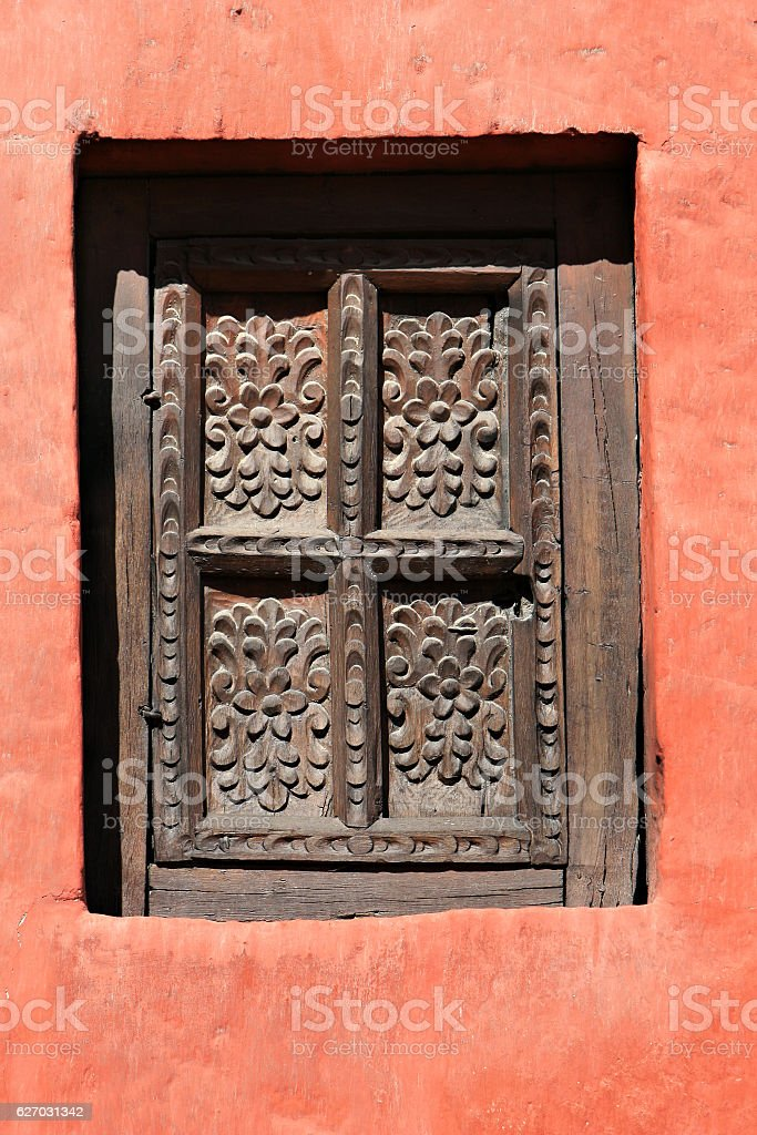 Wooden Shutter - Santa Catalina stock photo