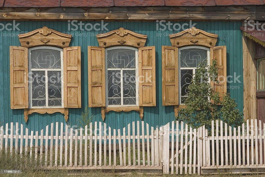 wooden siberian house stock photo