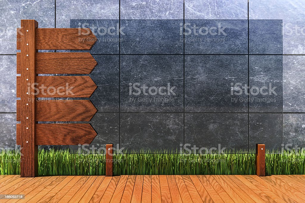 Wooden sign and glass plate in front of concrete wall royalty-free stock photo