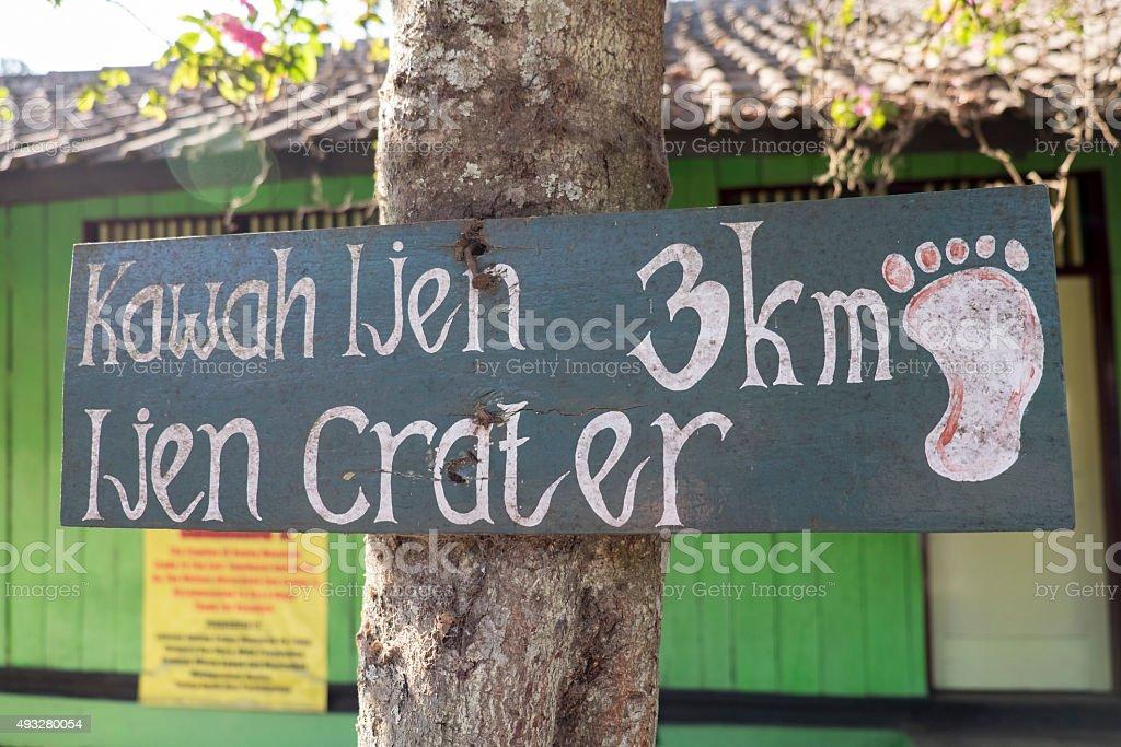 wooden sign at infomation tourism Kawah Ijen Java,Indonesia. stock photo
