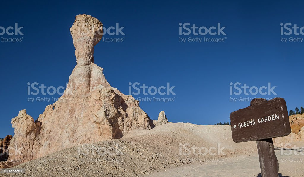 Wooden sign at the Queens Garden trail in  Bryce Canyon stock photo