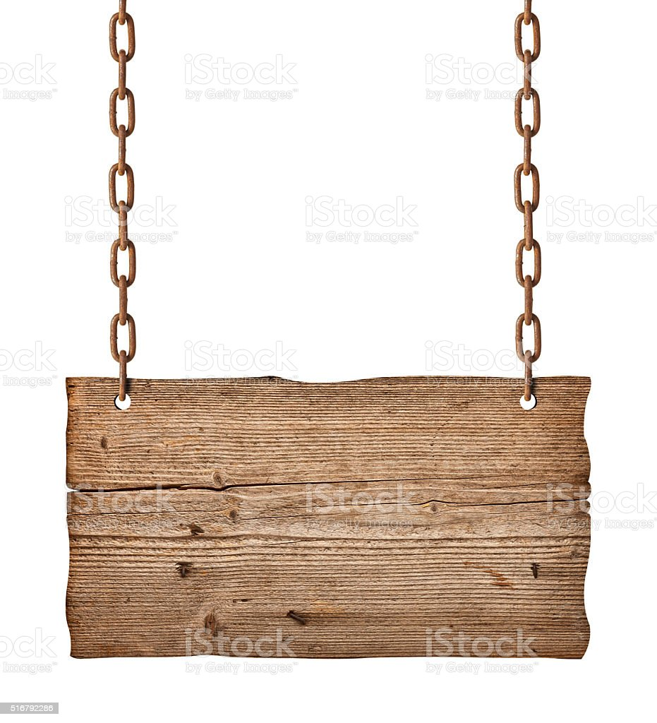 wooden sign background message rope chain hanging stock photo