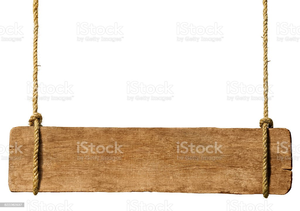 Wooden sign hanging from ropes stock photo