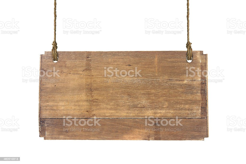 Wooden sign hanging on strings isolated on white background stock photo