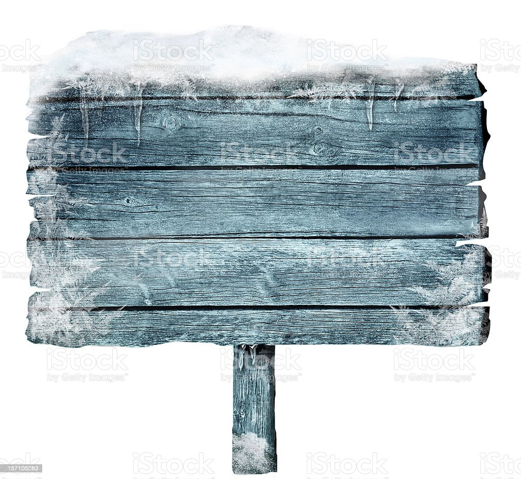 Wooden sign in winter royalty-free stock photo