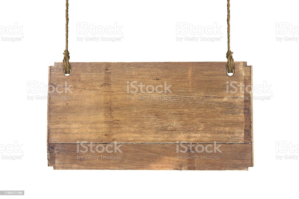 wooden sign isolated on a white stock photo