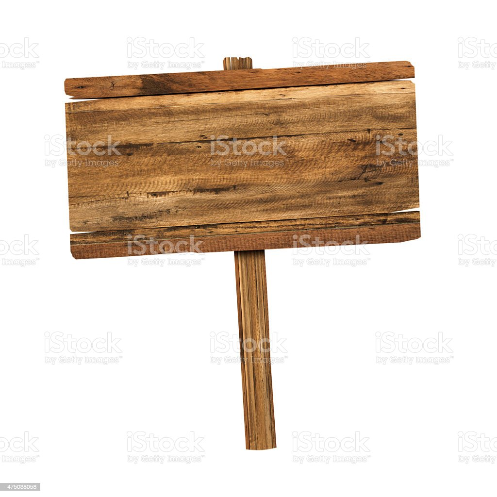 Wooden sign isolated on white stock photo