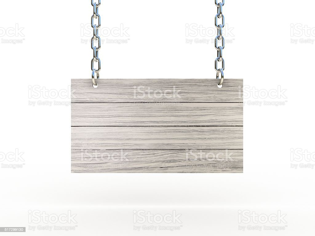 Wooden sign on the chains stock photo