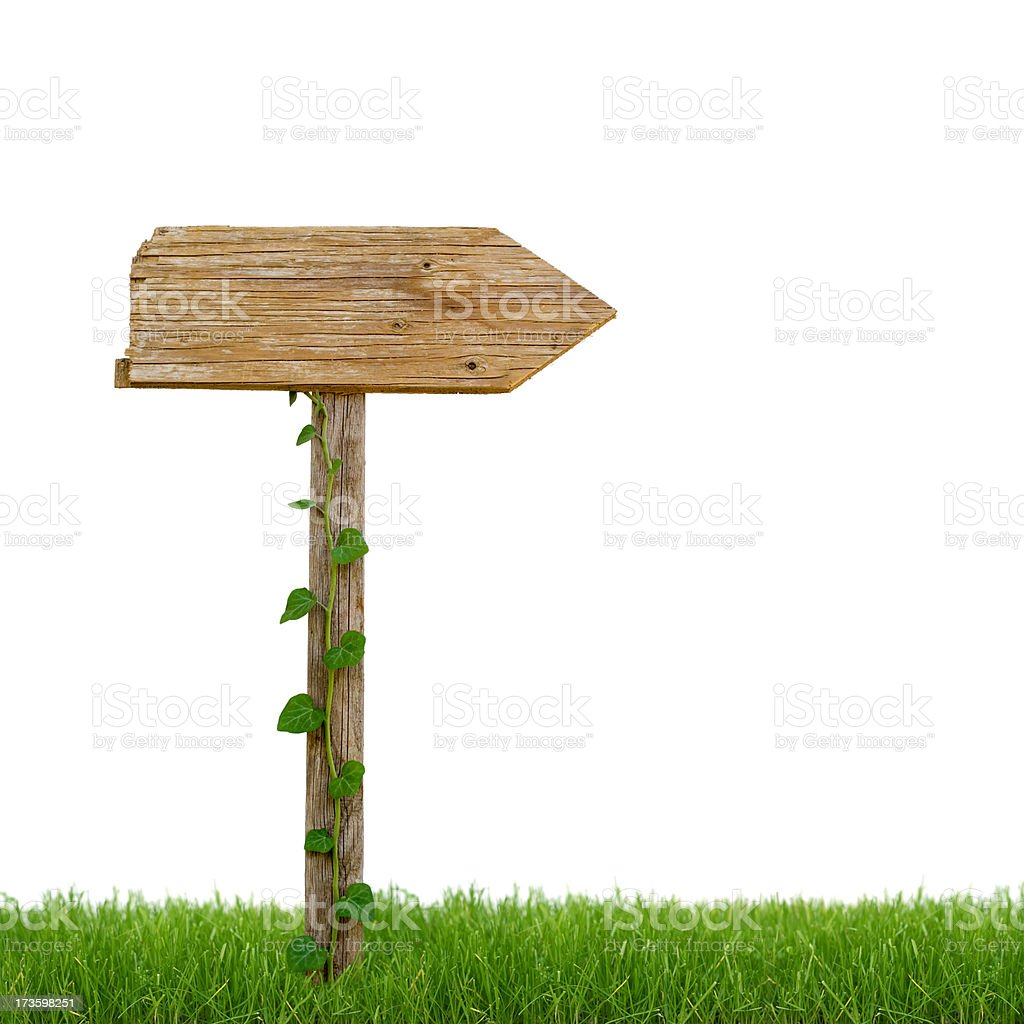 Wooden sign post in the grass royalty-free stock photo