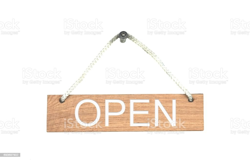 Wooden sign with rope: Open stock photo