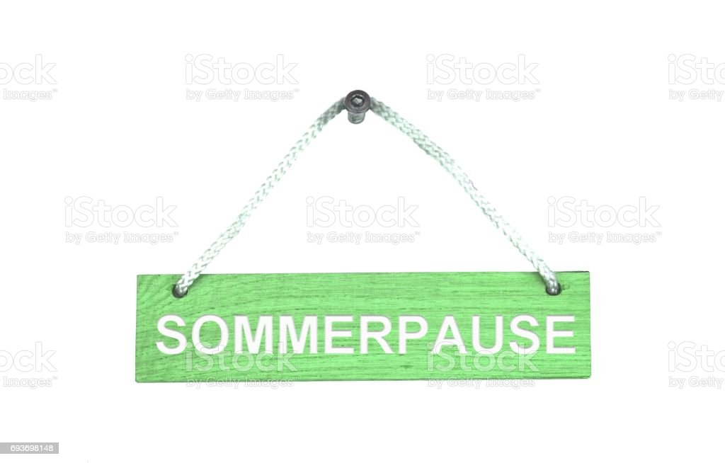 Wooden sign with rope: Summer Break german stock photo