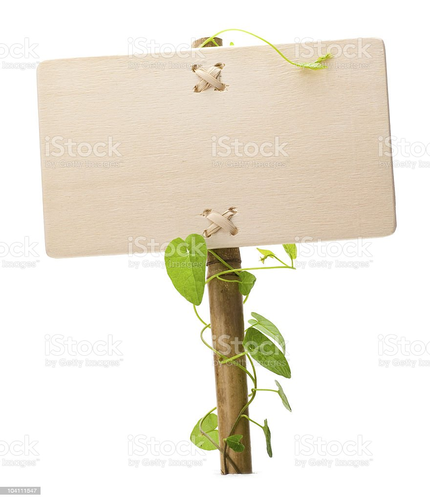 Wooden sign with vines around post and space for custom text stock photo