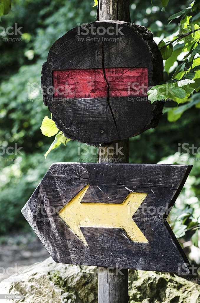 wooden signal of stop and one way royalty-free stock photo