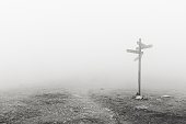 wooden signpost in the fog