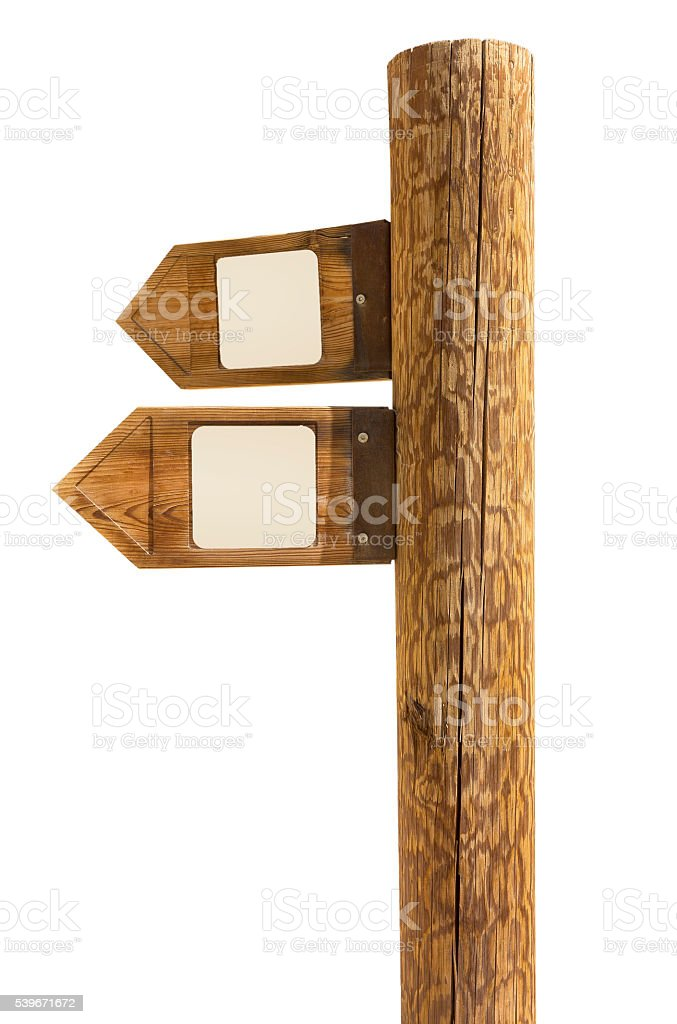 wooden signpost of directions stock photo