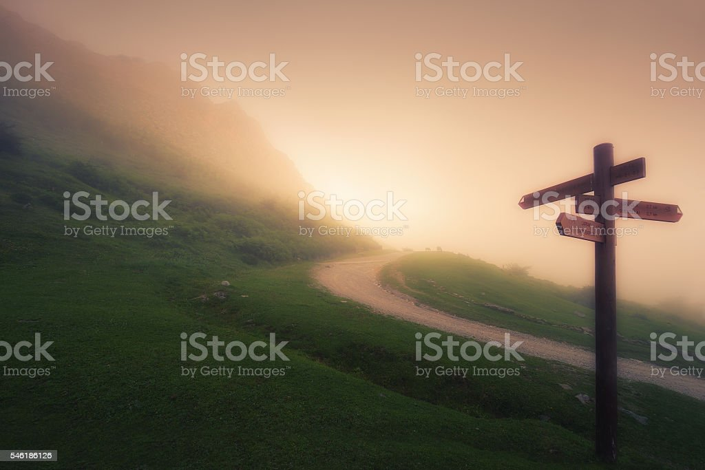 wooden signpost on foggy mountain stock photo