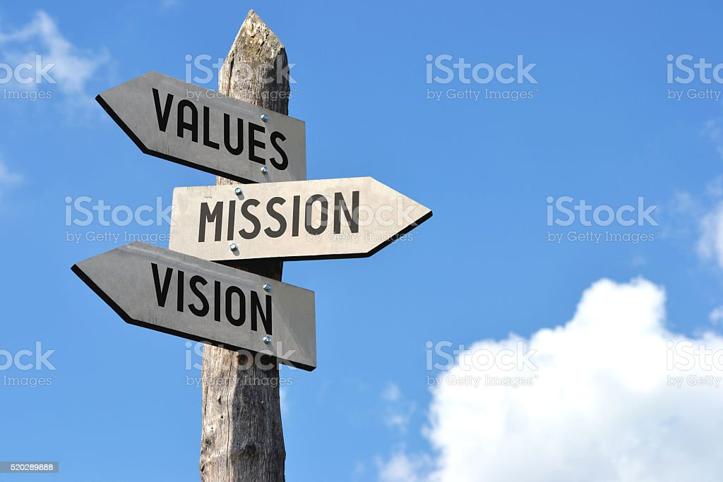 Wooden signpost - values, mission, vision stock photo