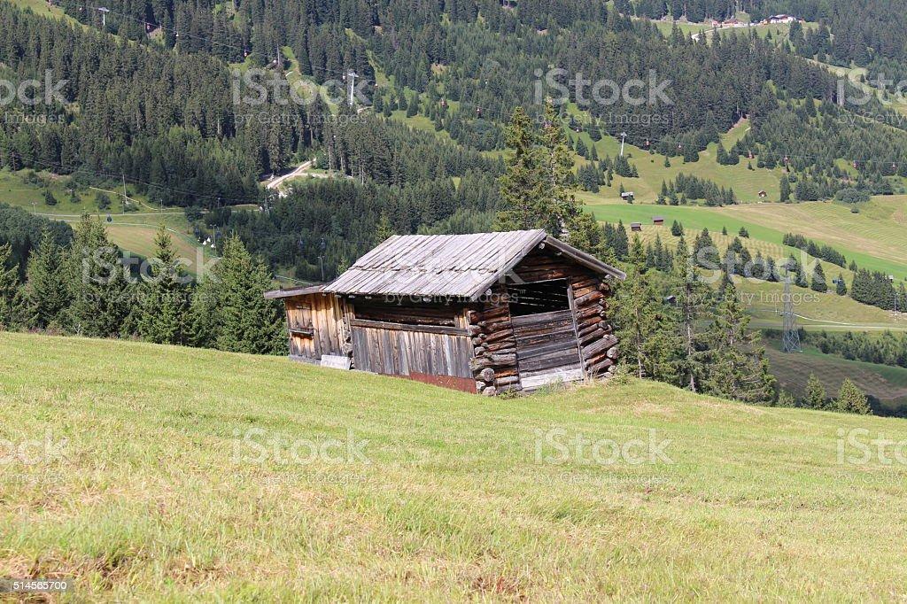Wooden ski hut in Austria stock photo