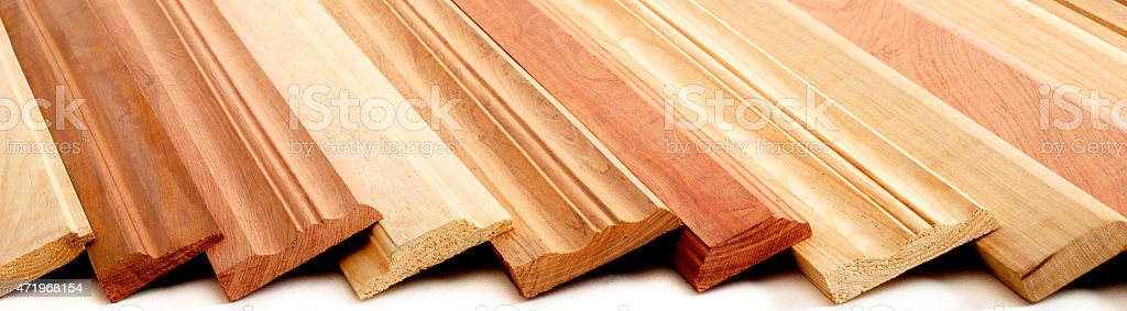 Wooden Skirting Boards stock photo