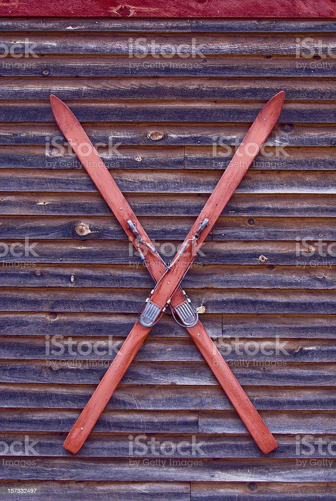 Wooden Skis royalty-free stock photo