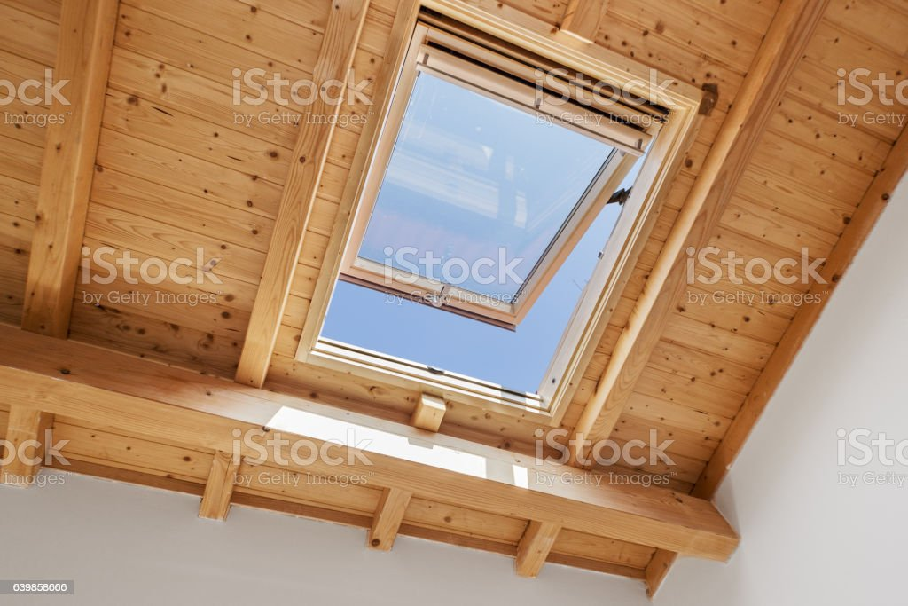 Wooden Skylight Window stock photo