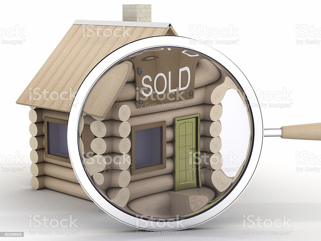 Wooden small house and magnifier. 3D image. royalty-free stock photo