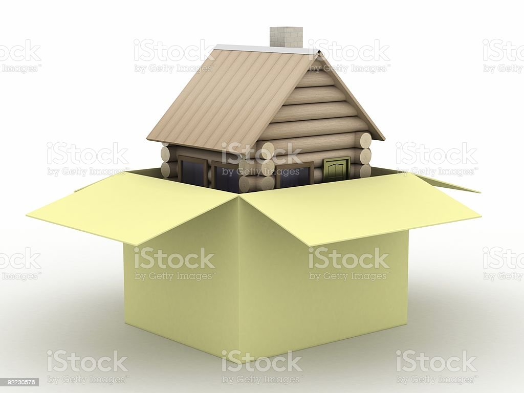 Wooden small house in a box. 3D image. royalty-free stock vector art