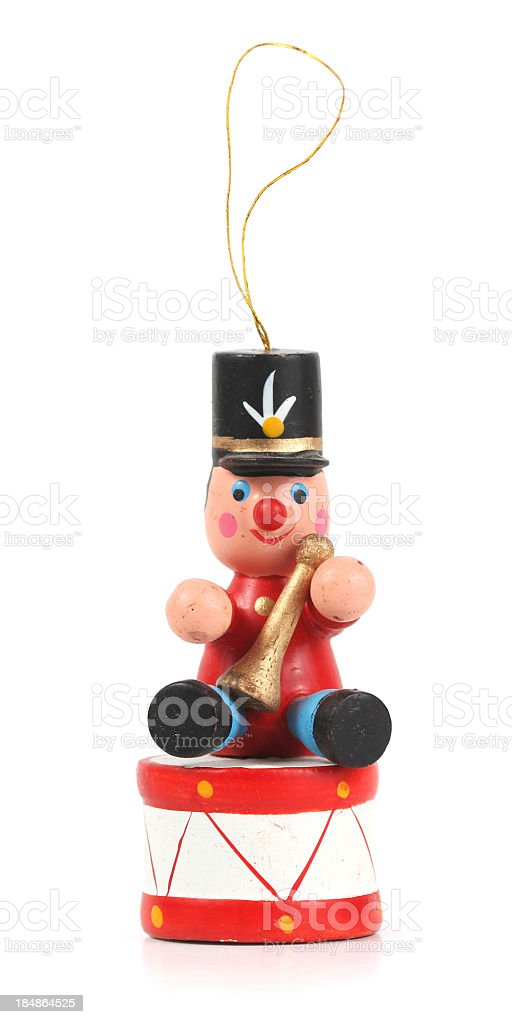 Wooden Soldier and Drum Christmas Ornament on white. stock photo