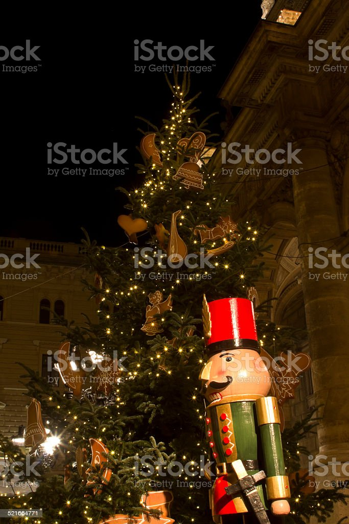 Wooden solider dummy before the House of Opera Budapest stock photo