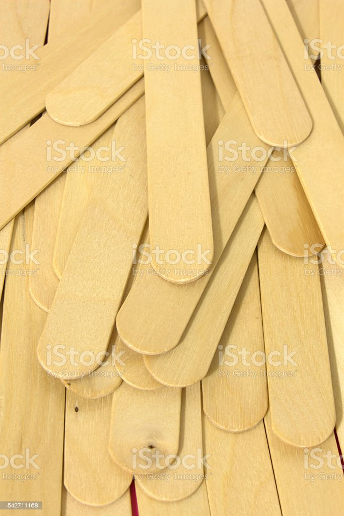 Wooden spatulas for waxing stock photo