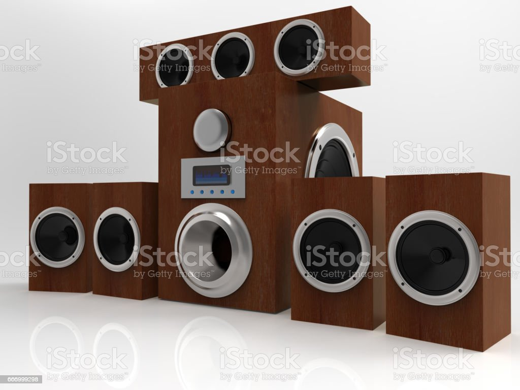 Wooden speakers on white background. 5.1 system. 3D rendering. stock photo