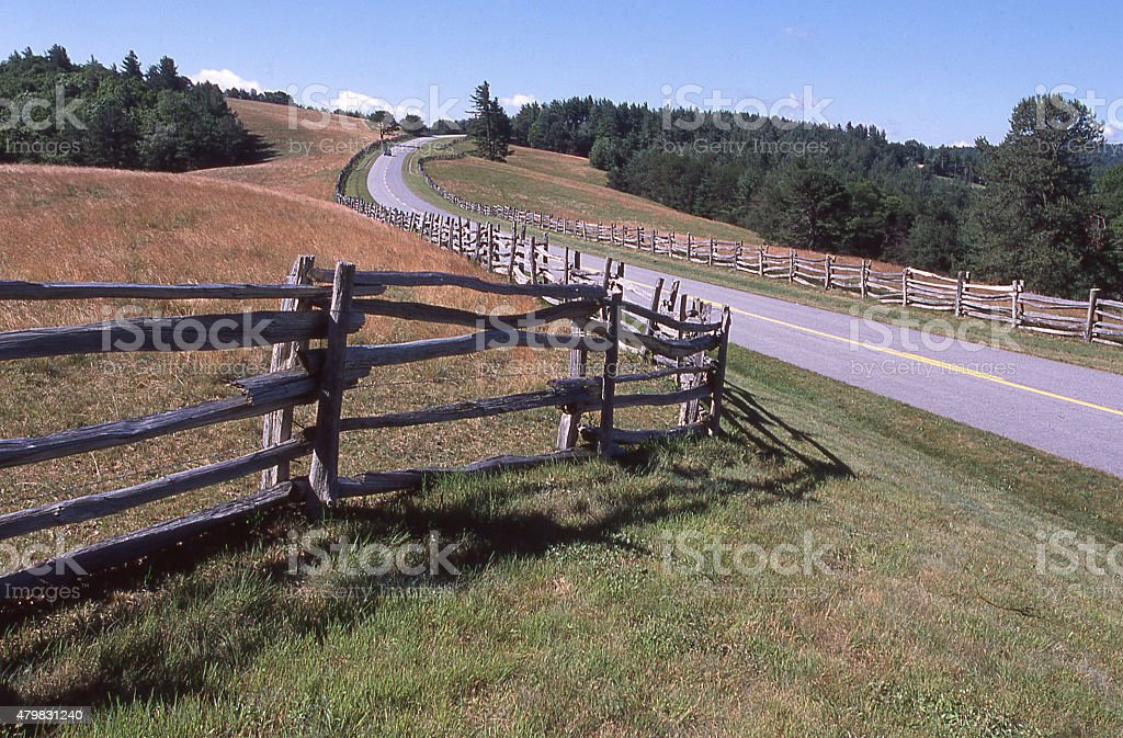 Wooden Split-rail Fences along Blueridge Parkway near Boone North Carolina stock photo